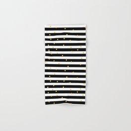 Modern black white gold polka dots striped pattern Hand & Bath Towel