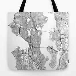 Seattle White Map Tote Bag