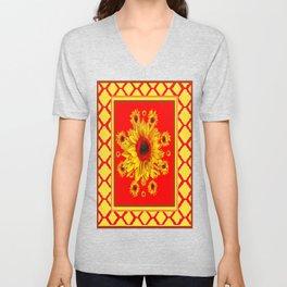 Yellow-Red Trellis Diamond Sunflower Pattern Abstract Unisex V-Neck
