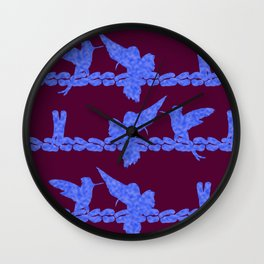 Purple Hummingbirds on Ultraviolet Line Wall Clock