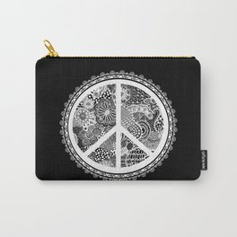 Zen Doodle Peace Symbol Black And White Carry-All Pouch