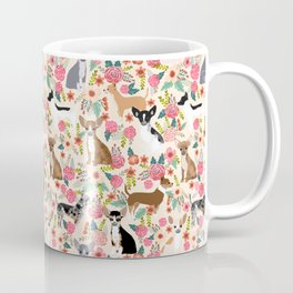 Chihuahua florals cute pastel dog breed must have gifts for small dog owner dog person pet portraits Coffee Mug
