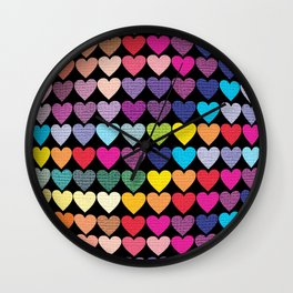 Love Heart Colour Abstract Art Wall Clock