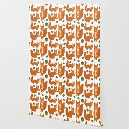 Seamless pattern Set of funny red squirrels with fluffy tail with acorn  on white background Wallpaper