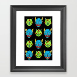 cowtigs and birdcats black Framed Art Print