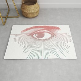 I See You. Pink Turquoise Gradient Sunburst Rug