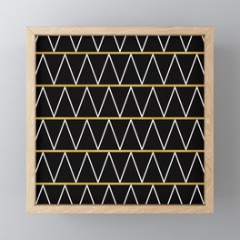 Black and gold zigzag Framed Mini Art Print