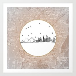 Cairo, Egypt (Giza), Africa City Skyline Illustration Drawing Art Print