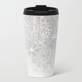 Modern white silver grey Christmas floral pattern illustration gradient ombre Metal Travel Mug