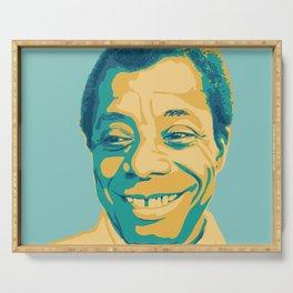 James Baldwin Portrait Teal Gold Blue Serving Tray