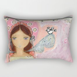Angel with Little Bird by Flor Larios Rectangular Pillow