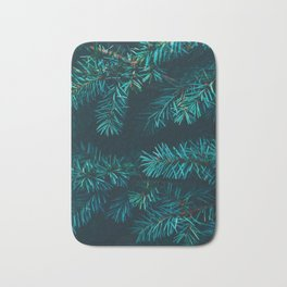 Pine Tree Close Up Neon Green Colorful Leaves Against A Black Background Bath Mat