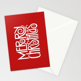 Merry Christmas Text White Stationery Cards