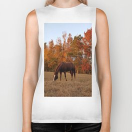 Horse Fall Days of Grazing Biker Tank