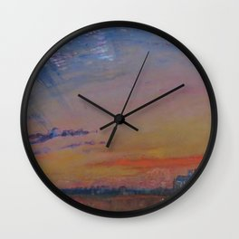 Herringbone Clouds at Sunset, Abbeville and St. Wulfran Cathedral, France by John Ruskin Wall Clock