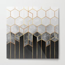 Charcoal Hexagons Metal Print
