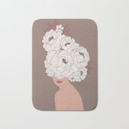 Woman with Peonies Bath Mat