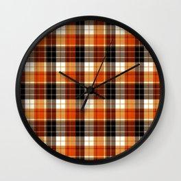Autumn plaid Wall Clock