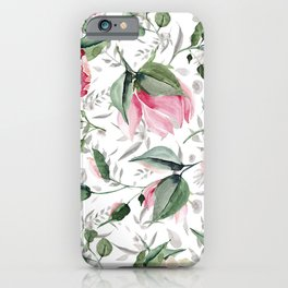 Aurora pink forest green gray watercolor floral iPhone Case