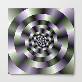 Concentric Circles in Green and Purple Metal Print