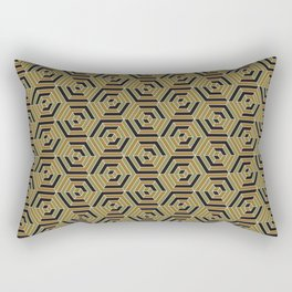 Sunshine and Shadow Pattern (Black & Gold) Rectangular Pillow