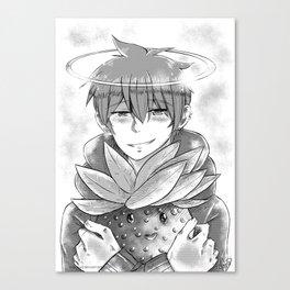 Toshi with Strawberry Plush Monochrome Canvas Print