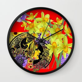 RED ART NOUVEAU MAGIC OF SPRING Wall Clock