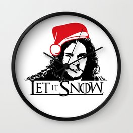 Let it Snow Santa Hat Christmas is Coming Wall Clock