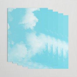 Aqua Blue Clouds Wrapping Paper