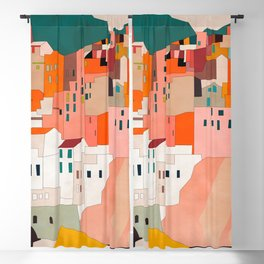 italy coast houses minimal abstract painting Blackout Curtain