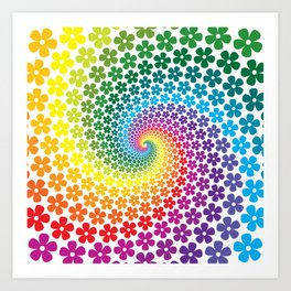 Rainbow Flowers Art Print