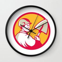 Construction Worker Spade Circle Retro Wall Clock