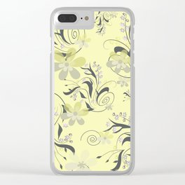 Gently yellow flowers on lemon yellow Clear iPhone Case