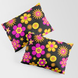 Seventies Look Floral Pattern on Black Pillow Sham