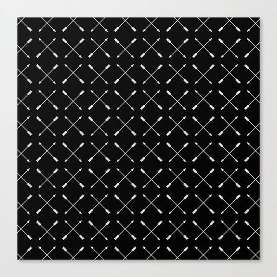White Arrows Pattern Canvas Print