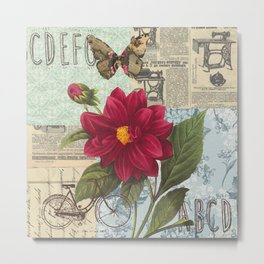 Ride with a Butterly and a Flower Metal Print