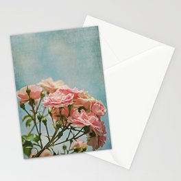 Vintage Inspired Pink Roses in Pastel Blue Sky with French Script Stationery Cards