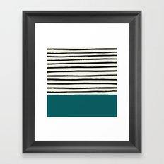 Dark Turquoise & Stripes Framed Art Print