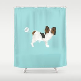 papillon farting dog cute funny dog gifts pure breed dogs Shower Curtain