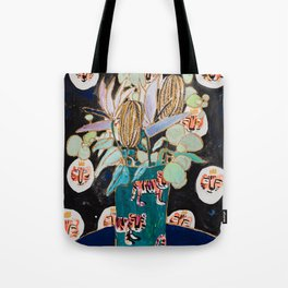 Dark Floral Still Life with Banksia Pods and Tigers Tote Bag
