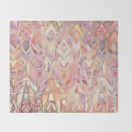 Glowing Coral and Amethyst Art Deco Pattern Throw Blanket