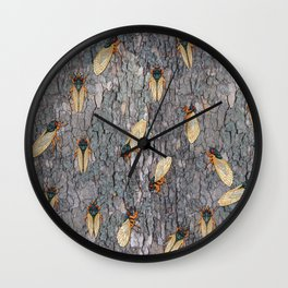 17 year cicadas on sycamore bark Wall Clock