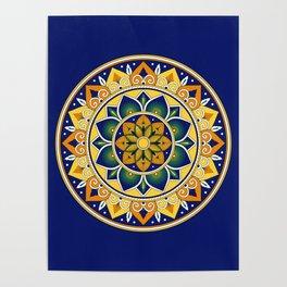 Italian Tile Pattern – Peacock motifs majolica from Deruta Poster