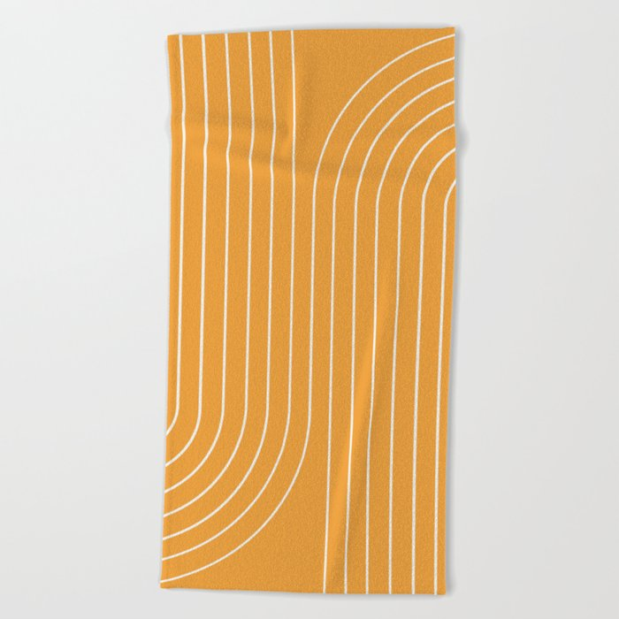 Minimal Line Curvature - Golden Yellow Beach Towel