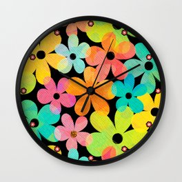 Hawaiian Holiday - Bright Textured Flowers on Black (pattern) Wall Clock
