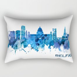 Belfast Northern Ireland Skyline Blue Rectangular Pillow