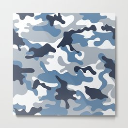 Blue and White Camo Metal Print
