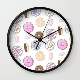 Donut Pattern Illustration Wall Clock
