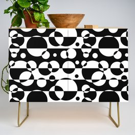 Black White Geometric Circle Abstract Modern Print Credenza