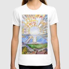 The Brilliance of Red Sunrise coastal nautical landscape painting by Edvard Munch T-shirt